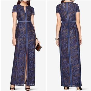 BCBGMAXAZRIA Cailean Floral Lace Gown in Blue